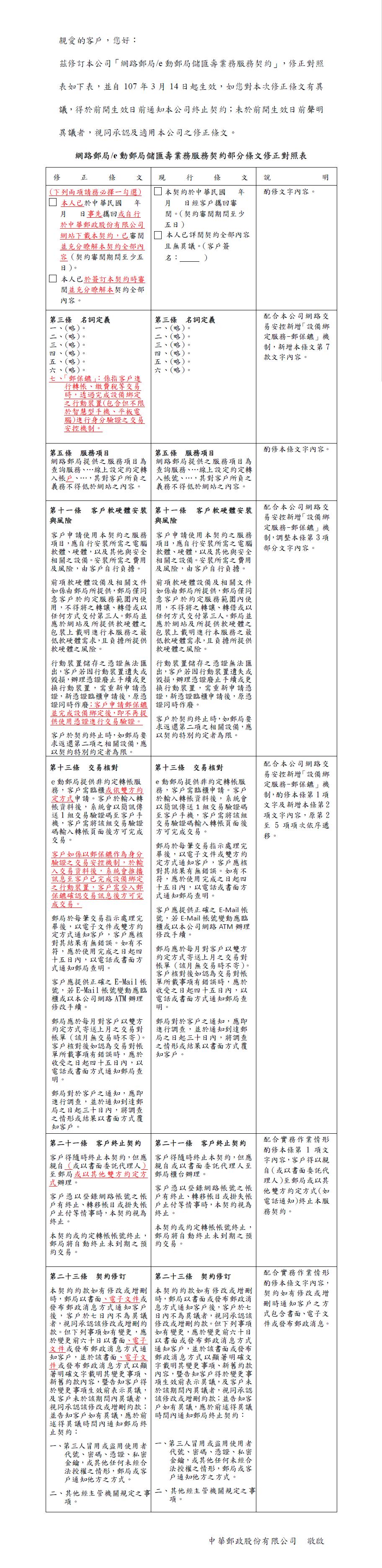 本公司自107年3月14日起,修正「網路郵局/e動郵局儲匯壽業務服務契約」