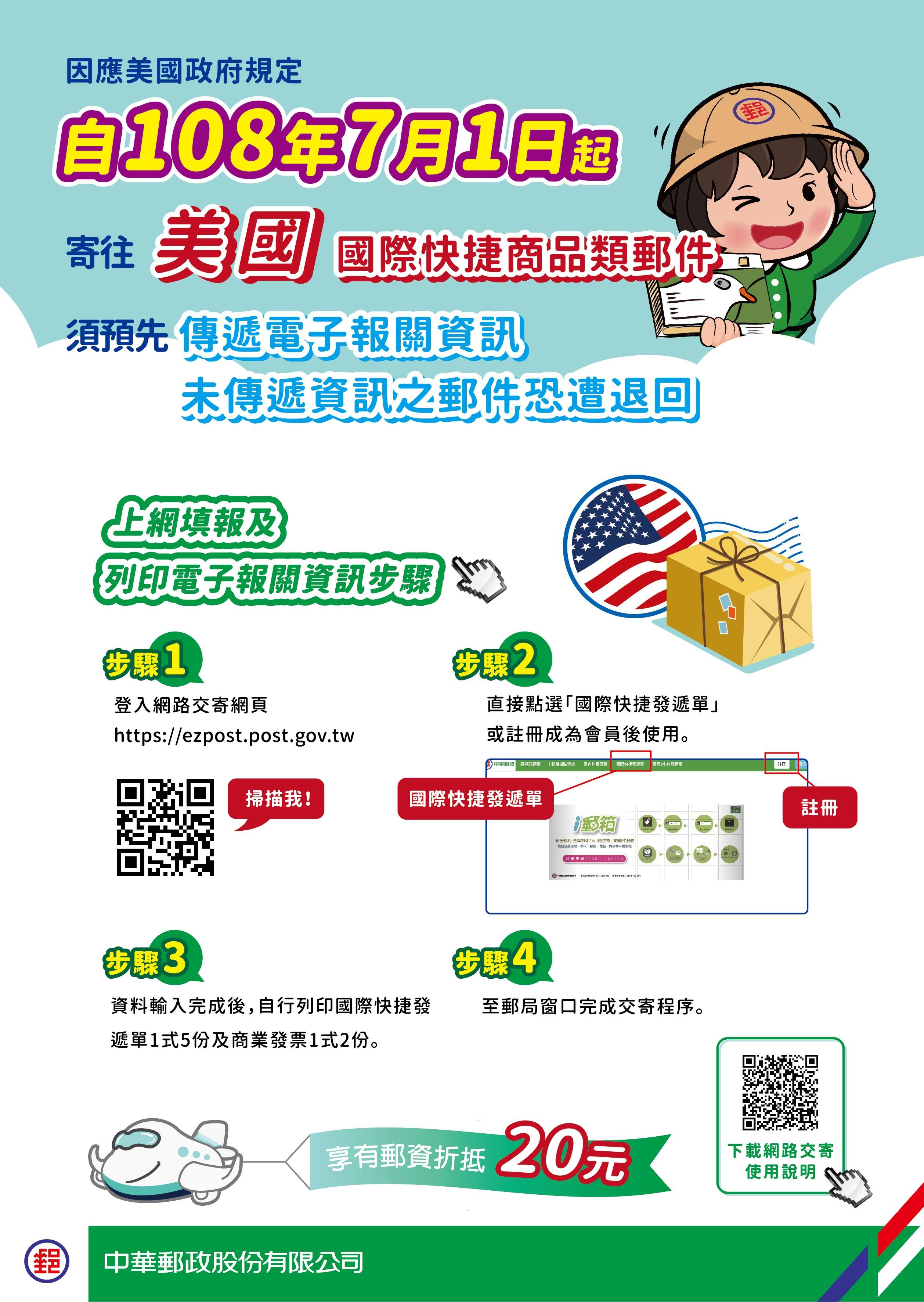 自108年7月1日起寄往美國之國際快捷,請先使用中華郵政全球資訊網網路交寄頁面自行列印發遞單及商業發票,俾利傳遞報關資訊。
