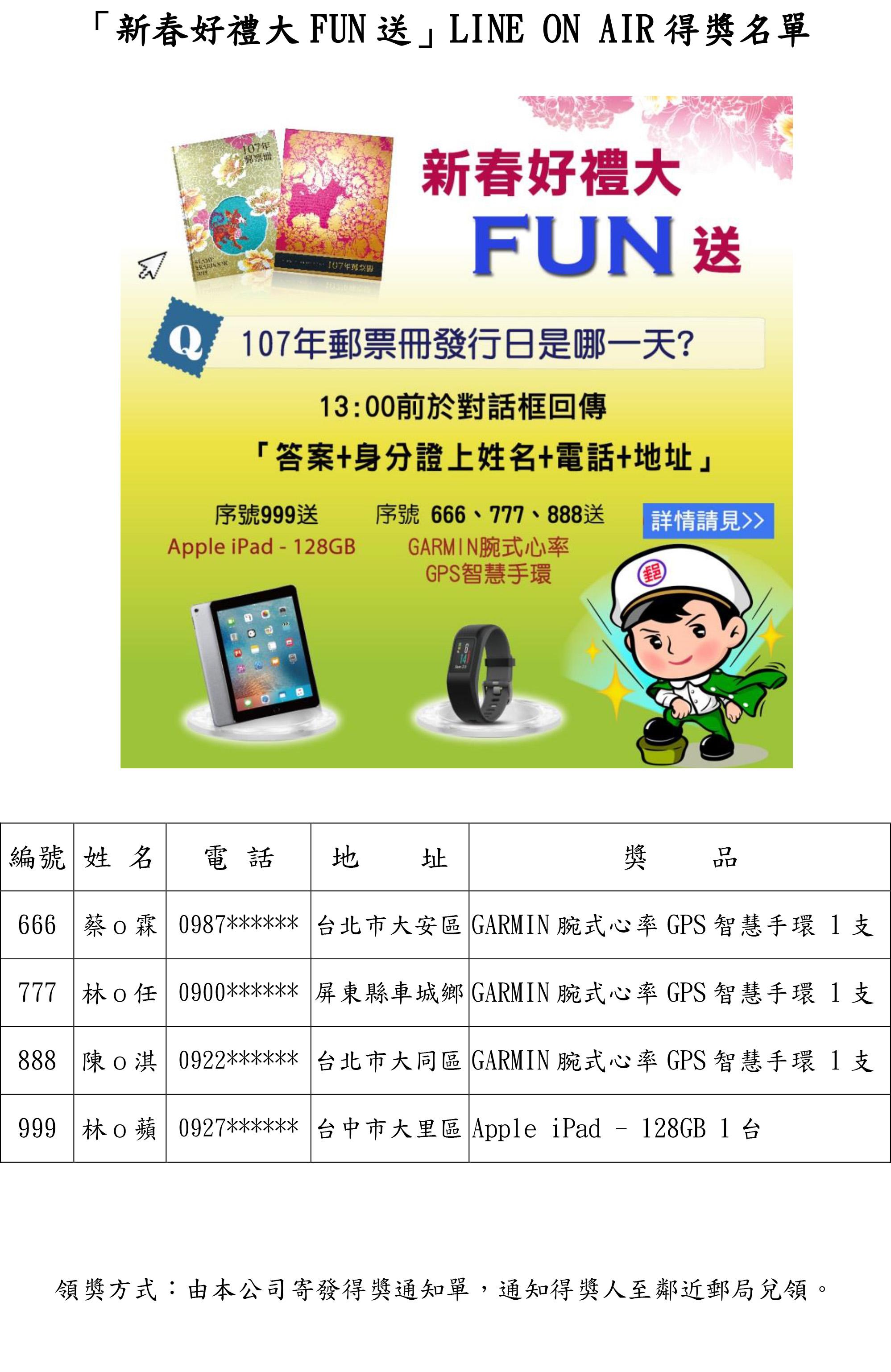 「新春好禮大FUN送」LINE ON AIR得獎名單