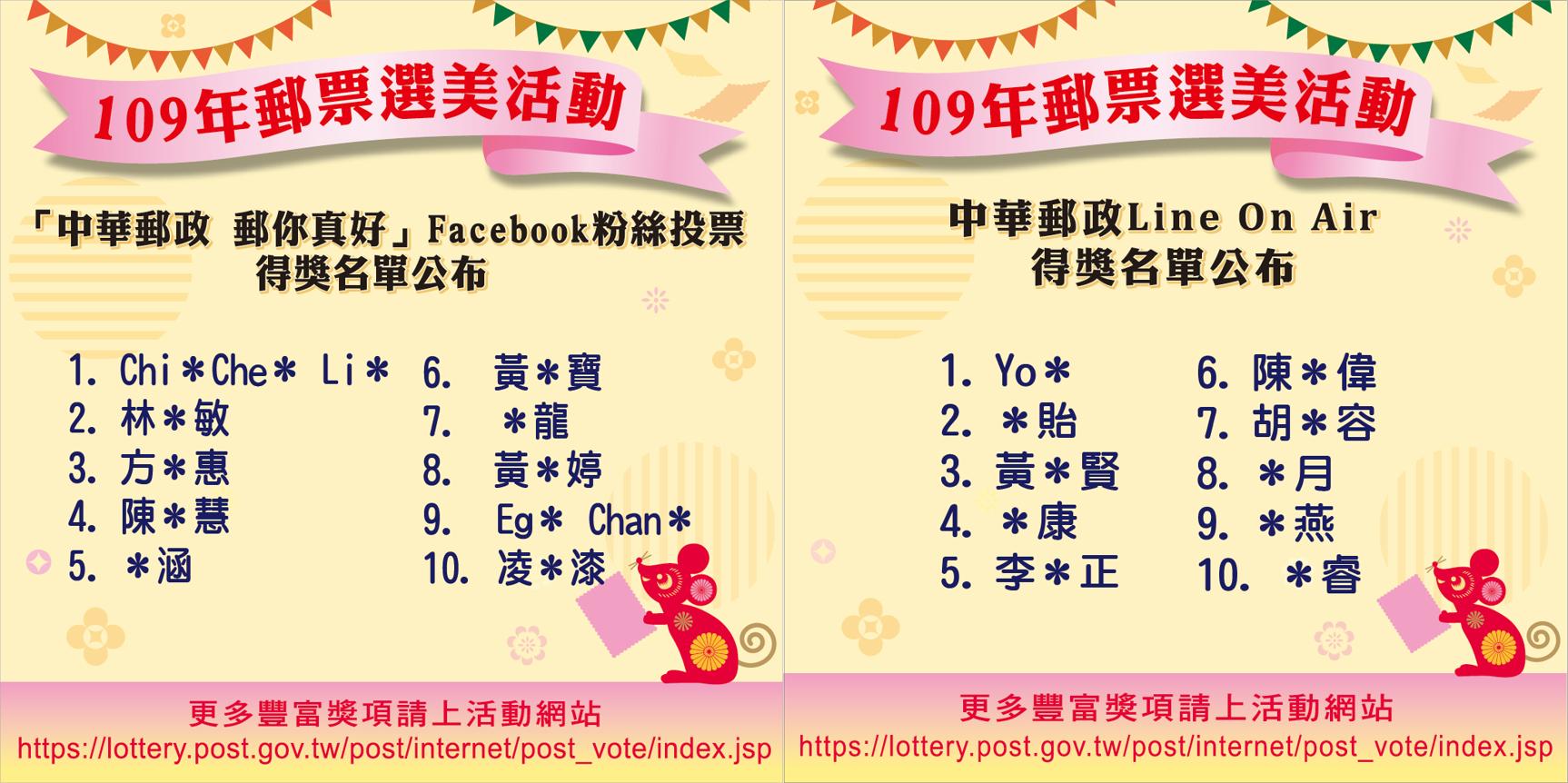 109年郵票選美活動 Facebook及LINE ON AIR投票得獎名單出爐