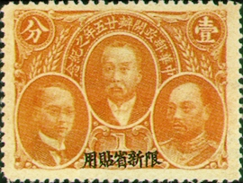 Sinkiang Commemorative 1 25th Anniversary of Postal Service Commemorative Issue with Overprint Reading