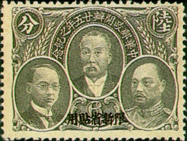 (SC1.3)Sinkiang Commemorative 1 25th Anniversary of Postal Service Commemorative Issue with Overprint Reading