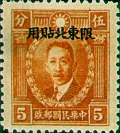 (ND2.3)Northeastern Def 002 Dr. Sun Yat-sen and Martyrs Issue, Hongkong Print, with Overprint Reading