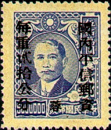 (ZD4.26)Szechwan Def 004 Dr. Sun Yat-sen and Postal Savings Issues Surchargect as Unit Postage Stamps with the Overprinted Character