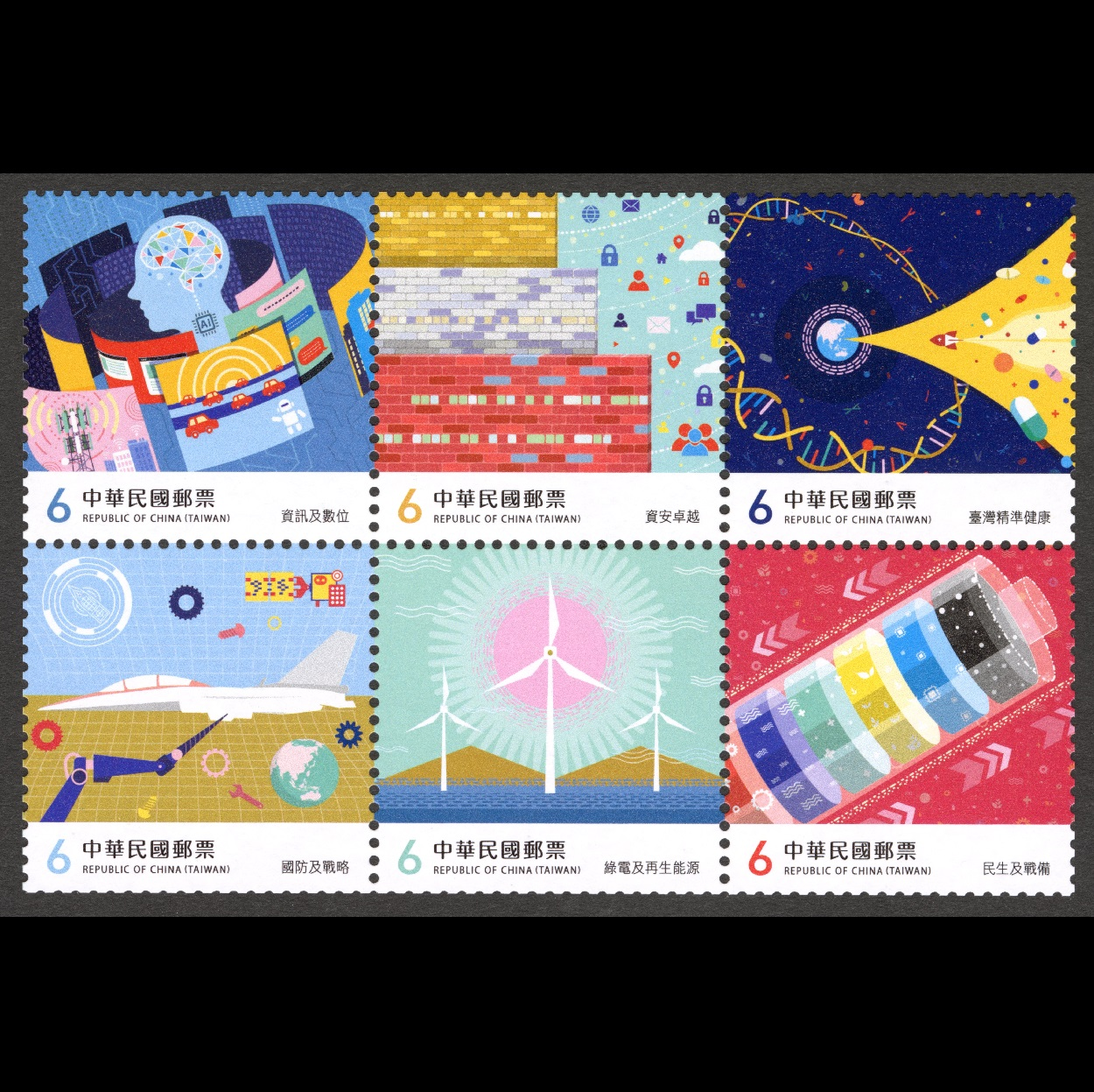 (Sp.711.1-711.6)Sp.711 Core Industries of Taiwan Postage Stamps